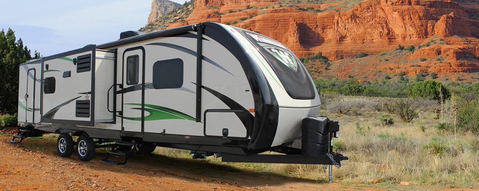 exterior of ultralite travel trailer