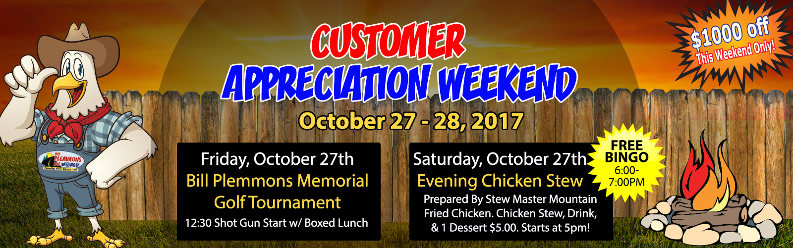 Bill Plemmons Chick Stew Customer Appreciation Sale