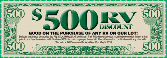 Bill Plemmons Open House RV $500 dollars off