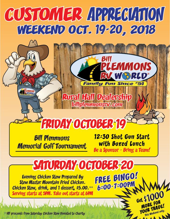 Bill Plemmons Customer Appreciation Weekend October 19-20
